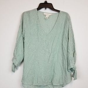 L.O.G.H. H&M 3/4 sleeve striped blouse top size 12